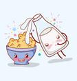 cornflakes bowl and milk bottle kawaii cartoons vector image