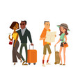 couple tourist traveler with map and luggage vector image