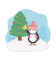 cute penguin and decorated tree merry christmas vector image vector image