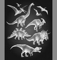 dinosaurs in stippling technique vector image