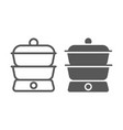 double boiler line and glyph icon kitchen vector image vector image