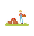 farmer standing holding wooden crate full of vector image vector image