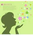 female silhouette with flowers 2 vector image
