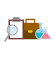 flasks magnifier clipboard bag vector image