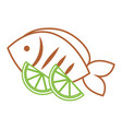 food fresh fish and slide lime vector image