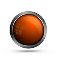 glass button orange color vector image vector image