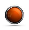 glass button orange color vector image