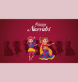 happy navratri celebration lettering with woman vector image vector image