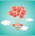 happy valentine day card heart balloons in sky vector image vector image