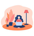happy women working at home with laptop in vector image vector image