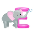 letter with elephant animal for kids abc education vector image