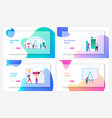 logo creation landing page template set tiny vector image