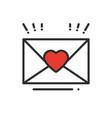 love letter envelope line icon happy valentine vector image
