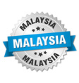 Malaysia round silver badge with blue ribbon vector image vector image