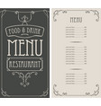 menu for restaurant in curly frame in retro style vector image vector image
