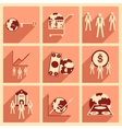 Modern flat icons collection with shadow vector image vector image