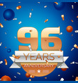 ninety six years anniversary celebration design vector image vector image