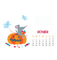 october calendar page with cute rat celebrate vector image