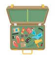packed suitcase for summer holiday - vector image