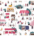 people at market seamless pattern flat vector image