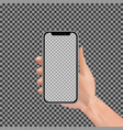 realistic hand holding smartphone with empty vector image vector image