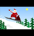 santa claus with a bag of gifts on a snowboard vector image vector image