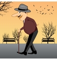 senior man walking with a cane vector image vector image