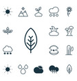 set of 16 landscape icons includes water drops vector image vector image
