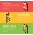 Set online food ordering banners Shipping and vector image