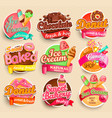 set sweet food labels vector image vector image