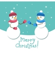 Snowman and his girlfriend card with Merry vector image