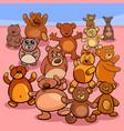 teddy bears group cartoon vector image