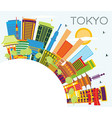 tokyo japan city skyline with color buildings vector image vector image