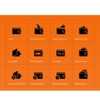 Wallet and translation icons on orange background vector image