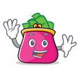 waving purse character cartoon style vector image vector image