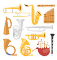 wind musical instruments tools isolated on white vector image vector image