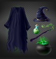 witch costume set of magic accessories vector image vector image