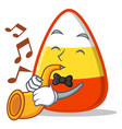 with trumpet candy corn character cartoon vector image vector image