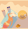 woman with swimsuit tanning in beach vector image vector image