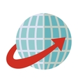 blue sphere world with red arrow around vector image