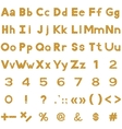 Alphabet numbers and signs set wood vector image