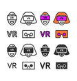 Man in virtual reality headset icons set vector image