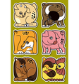 Set of cartoon domestic farm animal stickers vector image