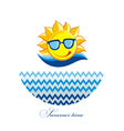 Summer Sun Face with sunglasses and Happy Smile vector image