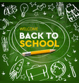 back to school banner doodle on green chalkboard vector image vector image