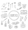 Beauty and cosmetics icons doodles vector image vector image