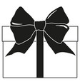 black and white gift box silhouette vector image