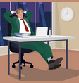 businessman in evening relaxed in workplace vector image