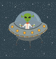 cartoon alien in flying saucer vector image vector image