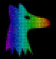 colored dotted fox head icon vector image